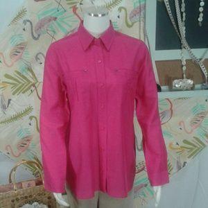 Chico's Silk Cotton Blouse Sz 6